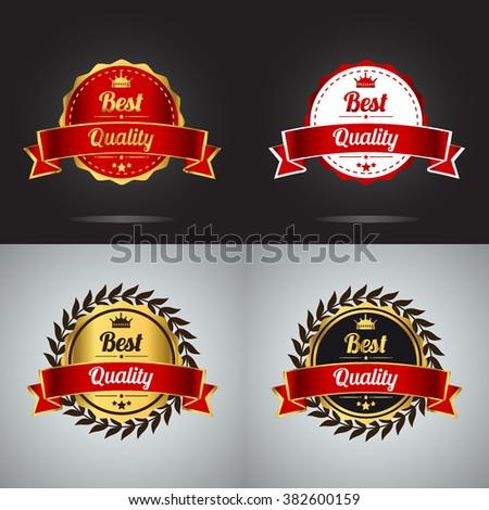 Best quality guaranteed golden label Vector collection. Best quality golden badge, vector illustration. - stock vector