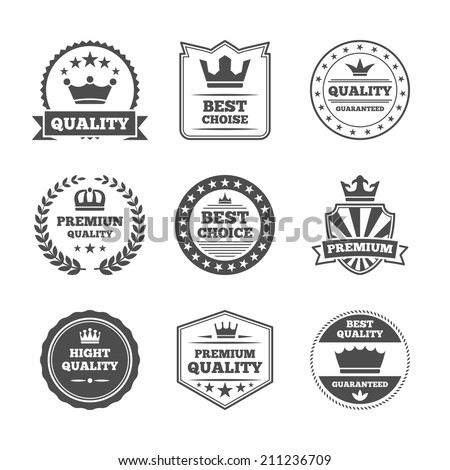 Best quality high premium value superior brands  individual labels with royal crown emblems collection isolated vector illustration - stock vector
