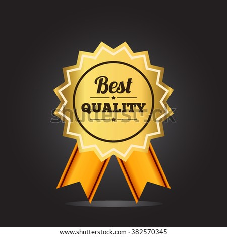 Best quality label golden colored with crown and ribbon. isolated on black background, vector illustration