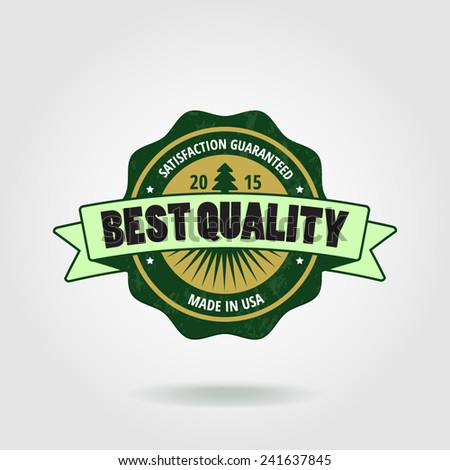Best quality label with ribbons