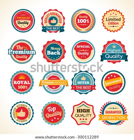 Best quality limited edition and guaranteed money back round black and white badges collection isolated vector illustration - stock vector