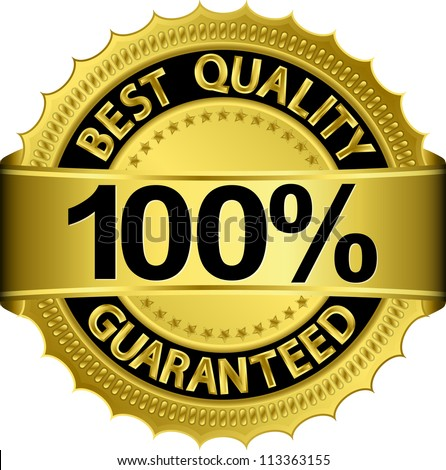 Best quality 100 percent guaranteed golden label, vector illustration