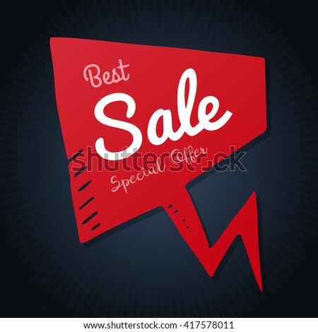 Best sale red doodle speech bubble, vector discount tag black banner, isolated