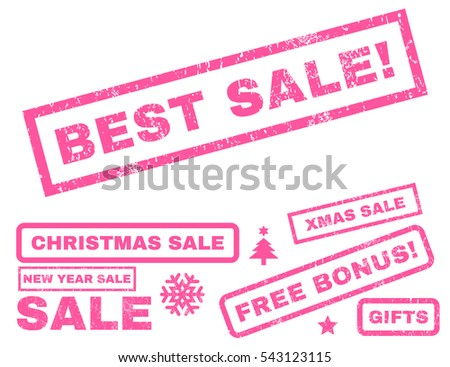 Best Sale! rubber seal stamp watermark with bonus banners for Christmas and New Year offers. Text inside rectangular banner with grunge design and dirty texture. Vector pink signs.
