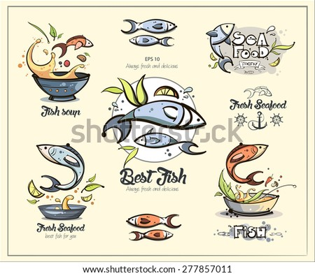 Best seafood menu signs. Fun cartoon style for your design. Vector eps 10 - stock vector