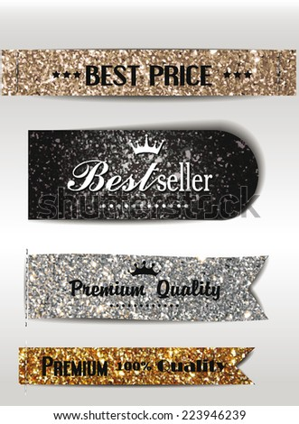 Best Seller and the best Quality textured labels - stock vector