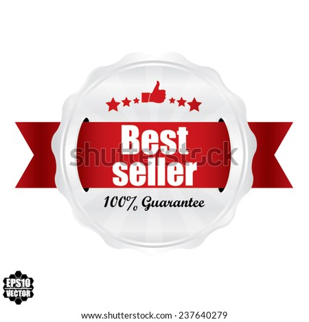 Best Seller Award Symbol, Sign, Icon,Label And Tag With Stars Stickers. Certificate Emblem Labels. Vector Badge With Red Ribbon. - stock vector