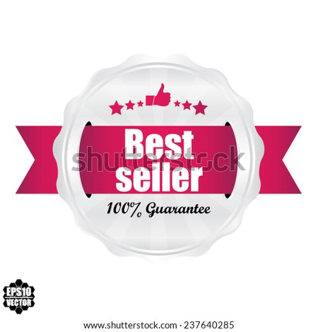Best Seller Award Symbol, Sign, Icon,Label And Tag With Stars Stickers. Certificate Emblem Labels. Vector Badge With Pink Ribbon. - stock vector