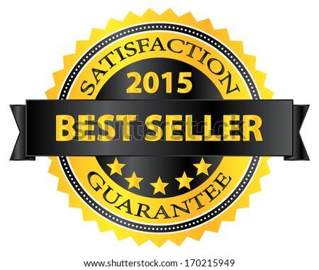 Best Seller Five Stars Golden Badge Award 2015 - stock vector