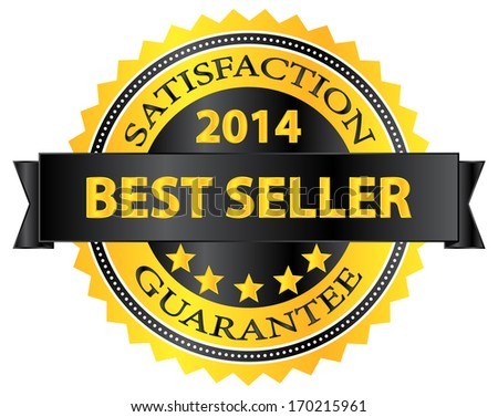 Best Seller Five Stars Golden Badge Award 2014 - stock vector