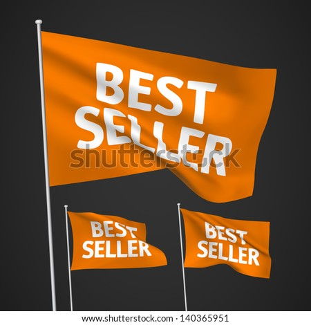 Best seller - orange vector flags. A set of wavy 3D flags created using gradient meshes. EPS 8 vector
