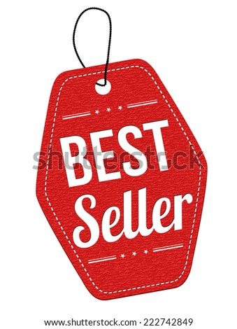 Best seller red leather label or price tag on white background, vector illustration - stock vector