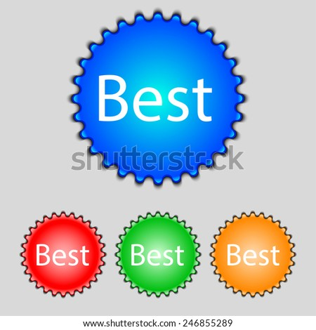 Best seller sign icon. Best seller award symbol. Set of colored buttons. Vector illustration