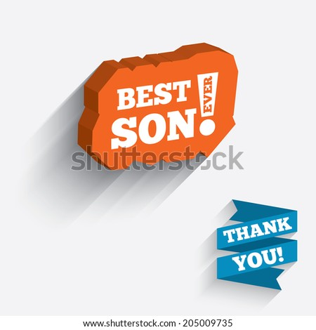 Best son ever sign icon. Award symbol. Exclamation mark. White icon on orange 3D piece of wall. Carved in stone with long flat shadow. Vector