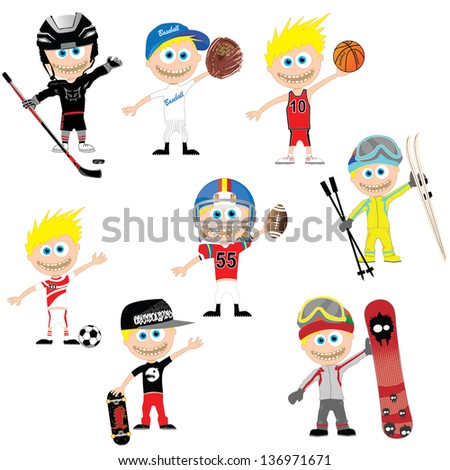 best sports set -athlete  vector illustration with funny characters - stock vector