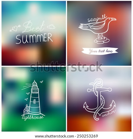 Best summer set on blurred background. - stock vector