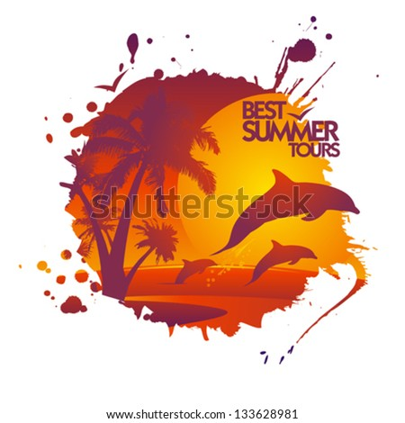 Best summer tours design template in form of blot with dolphins at sunset.