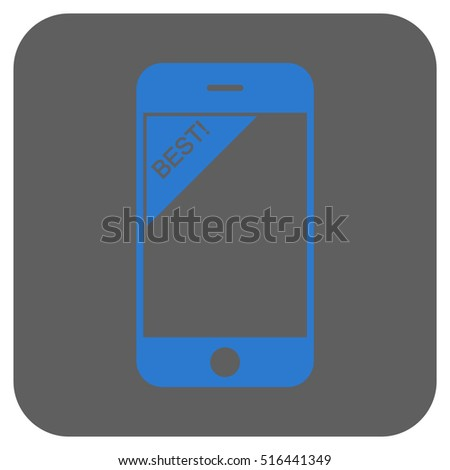 Best Telephone vector icon. Image style is a flat icon symbol on a rounded square button, blue and gray colors.