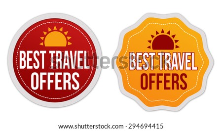 Best travel offers stickers set on white background, vector illustration