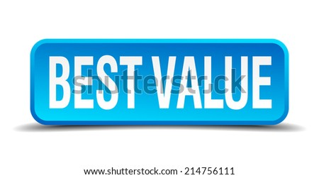 best value blue 3d realistic square isolated button - stock vector