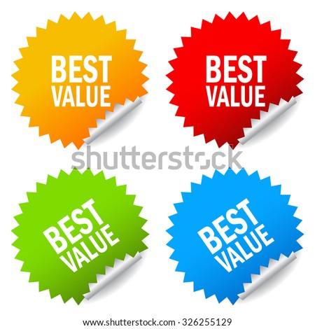 Best value stickers - stock vector