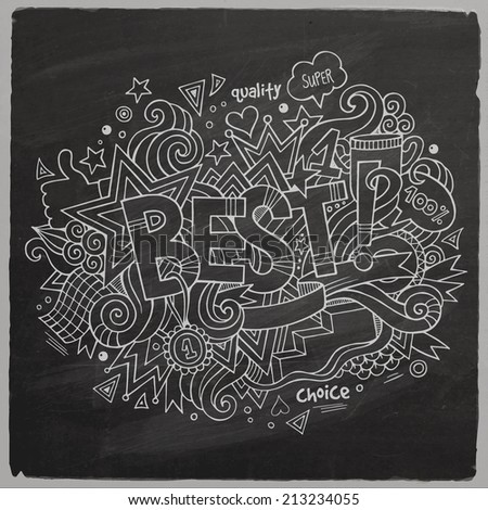 Best Vector hand lettering and doodles elements chalkboard background - stock vector