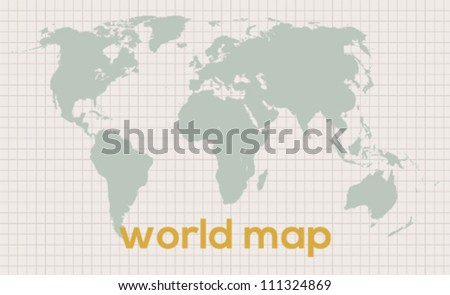 Best vector world map for your use on vintage background - stock vector