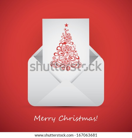 Best Wishes from an Envelope - Christmas Card - stock vector