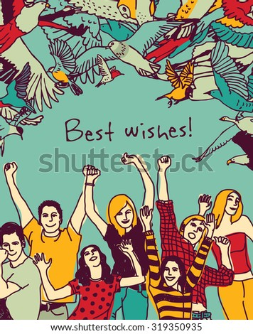 Best wishes happy people color card. Group of active happy people and sign. Vector illustration. EPS 8