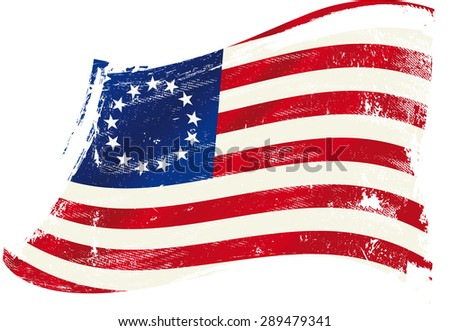 Betsy Ross flag grunge. A grunge Betsy Ross flag in the wind for you. - stock vector