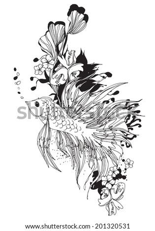Betta fish underwater flowers black white stock vector for Black and white betta fish
