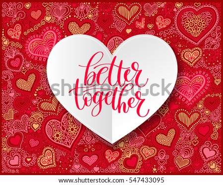 better together vector text phrase illustration on heart shape background love or friendship expression