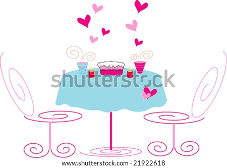 Beuty conditions in cafe for romantic appointment. - stock vector