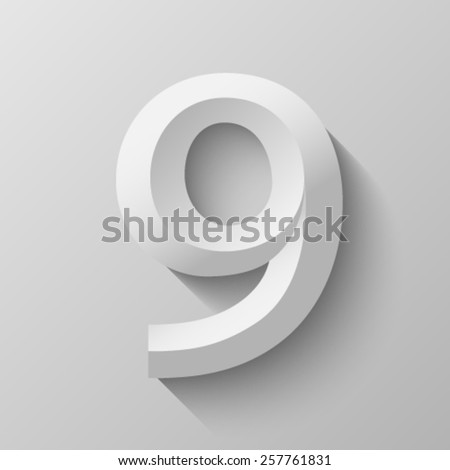 Bevel number 9 with shadow - stock vector