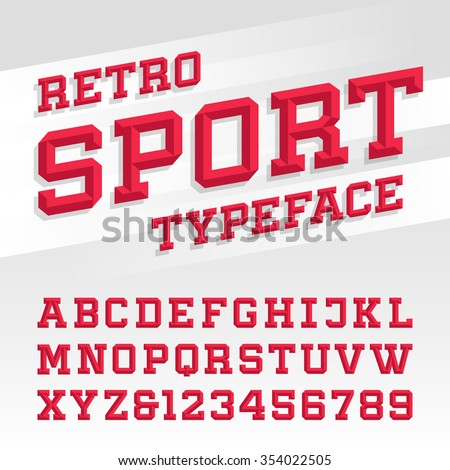 Beveled alphabet vector font. Retro sport style typeface for labels, titles, posters or sportswear transfers. Type letters, numbers and symbols on the bright background.  - stock vector