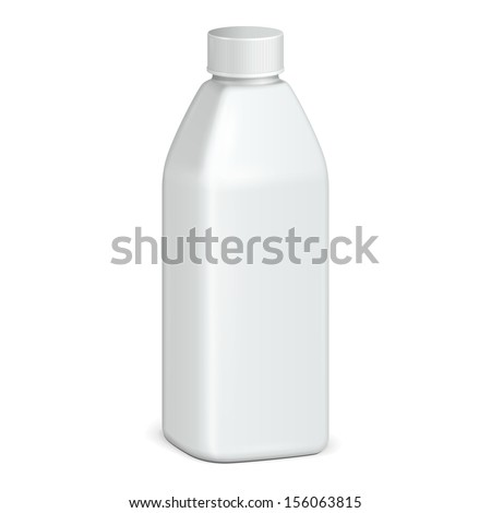 Beverage Drink, Cosmetic Or Hygiene Grayscale White Plastic Bottle Of Gel, Liquid Soap, Lotion, Cream, Shampoo. Ready For Your Design. Illustration Isolated On White Background. Vector EPS10  - stock vector
