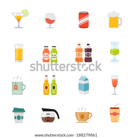 Beverage full color flat design icon. Vector illustration - stock vector