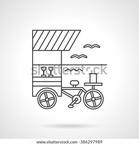 Beverages vending portable cart on a sea coast. Summer leisure. Fresh drinks. Flat line style vector icon. Single design element for website, business.