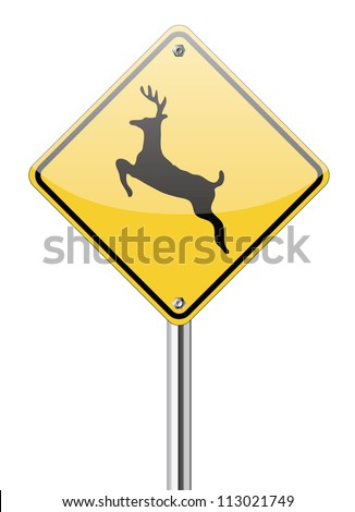 Beware deer crossing sign - stock vector