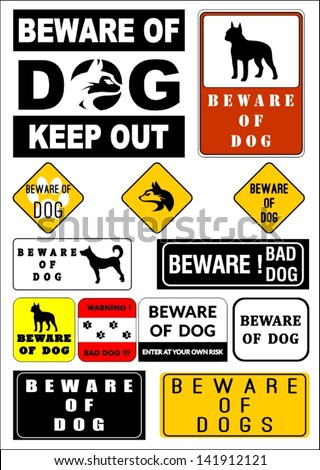 Beware of dog vector collection