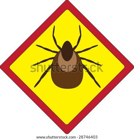 beware of the ticks sign - stock vector