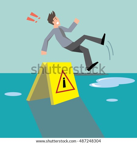 Beware Your Step Conceptman Slipping On Stock Vector