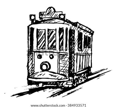 beyoglu taksim tram sketch - stock vector