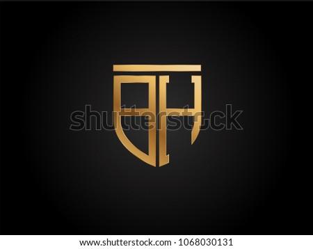 Bh Design bh shield shape letter design gold stock vector 1068030131