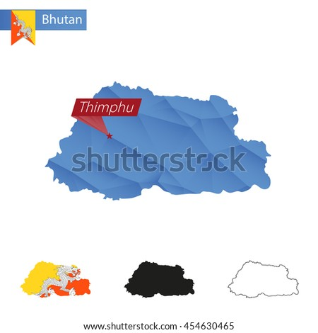 Bhutan blue Low Poly map with capital Thimphu, versions with flag, black and outline. Vector Illustration. - stock vector
