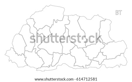 Bhutan Outline Silhouette Map Illustration Districts Stock Vector - Map of bhutan with districts
