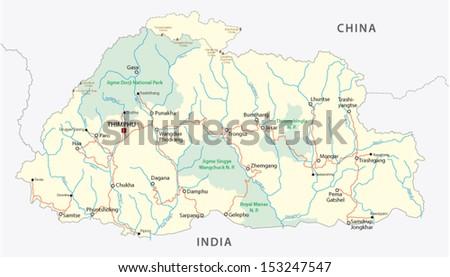 Bhutan Road Map Stock Vector 153247547 Shutterstock
