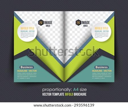 Bi-Fold Brochure Design. Corporate Leaflet, Cover Template - stock vector