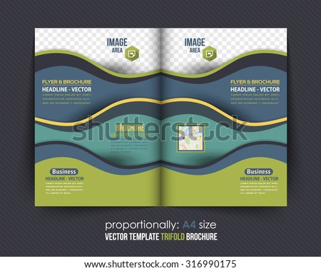 Bi-Fold Brochure Design. Corporate Leaflet, Cover Template - stock vector