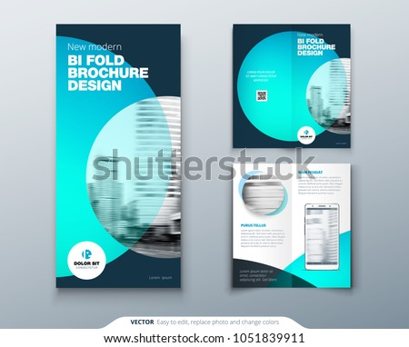 bi fold brochure design teal orange stock vector royalty free